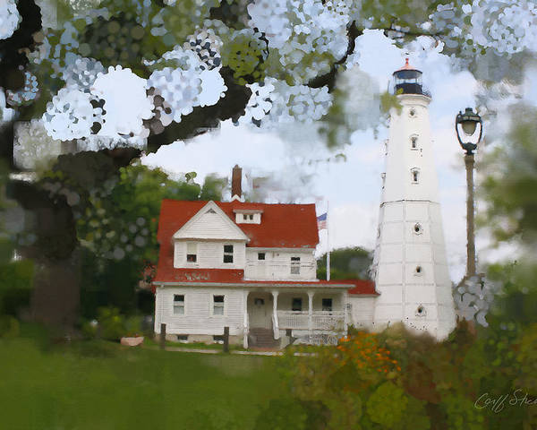 Milwaukee Poster featuring the digital art Lake Park Lighthouse by Geoff Strehlow