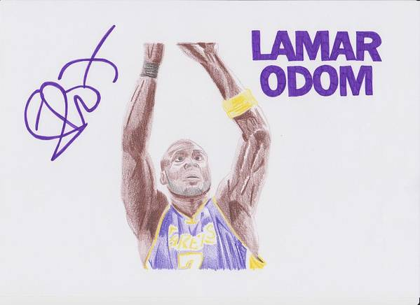 Lamar Poster featuring the drawing Lamar Odom by Toni Jaso