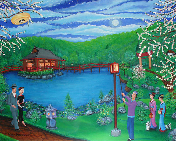 Japanese Garden Poster featuring the painting Lamp Lighting Time by Tracy Dennison