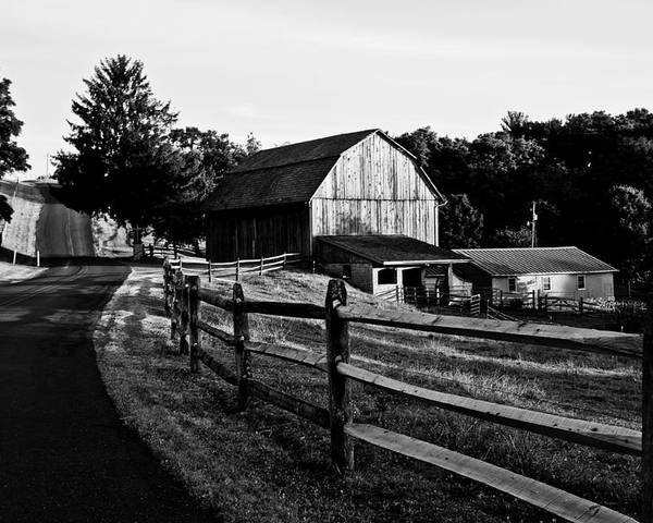 Barn Poster featuring the photograph Langus Farms Black And White by Jim Finch