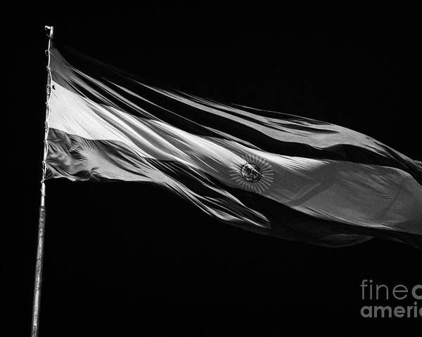 Republic Poster featuring the photograph Large Argentinian Flag Flying In The Wind Against A Blue Sky Republic Of Argentina by Joe Fox
