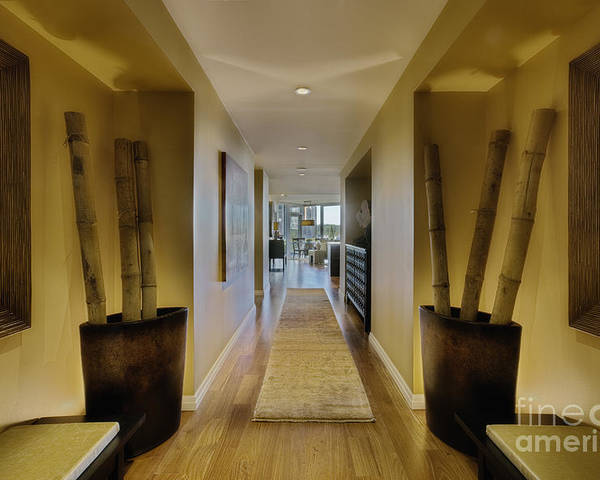 Affluence Poster featuring the photograph Large Hallway In Upscale Residence by Andersen Ross