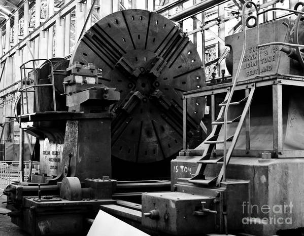 B&w Poster featuring the photograph Large Lathe by John Buxton