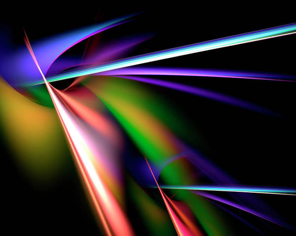 Abstract Poster featuring the digital art Laser Light Show by Carolyn Marshall