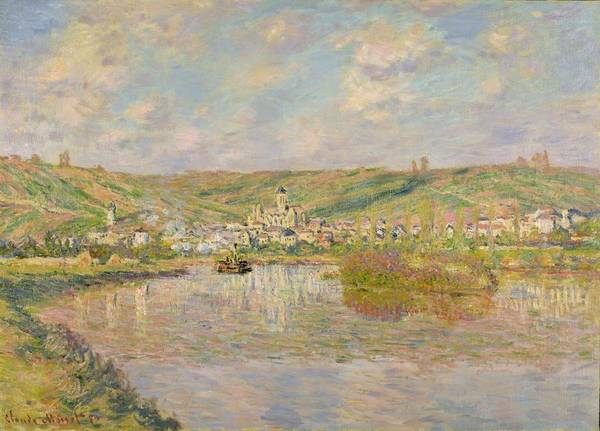 Late Poster featuring the painting Late Afternoon - Vetheuil by Claude Monet