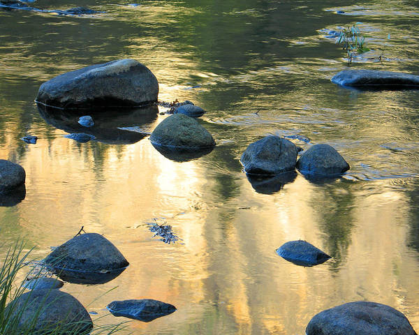 Merced River Poster featuring the photograph Late Afternoon Reflections In Merced River In Yosemite Valley by Greg Matchick