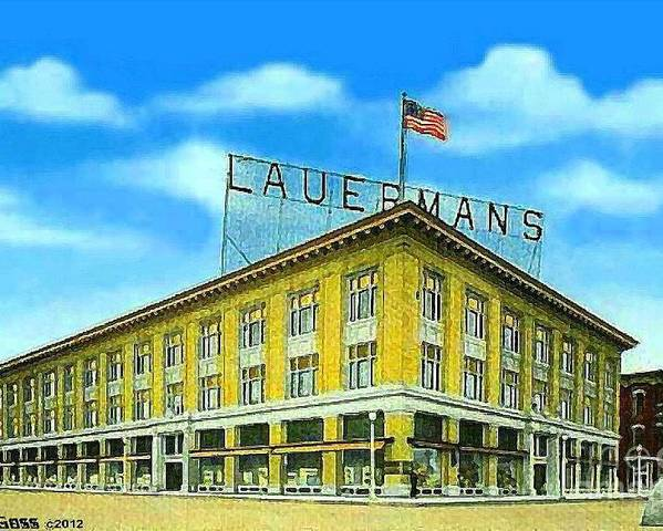 Department Stores Poster featuring the painting Lauerman's Department Store In Marinette Wi In 1910 by Dwight Goss