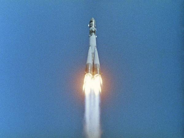 Vostok 1 Poster featuring the photograph Launch Of Vostok 1 Spacecraft by Ria Novosti