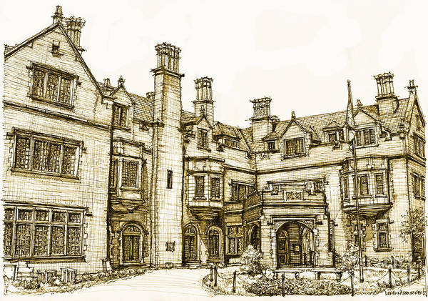Laurel Poster featuring the drawing Laurel Hall In Sepia by Adendorff Design