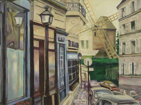 Burke Poster featuring the painting Le Moulin De La Galette Paris by Larry Burke