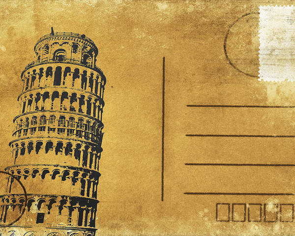 Address Poster featuring the photograph Leaning Tower Of Pisa Postcard by Setsiri Silapasuwanchai