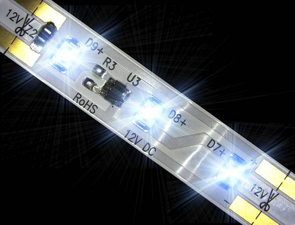 Electroluminescence Poster featuring the photograph Led Light Strip, Macrophotograph by Pasieka
