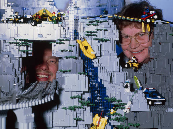 Lego Model Poster featuring the photograph Lego Model And And Its Constructors by Volker Steger