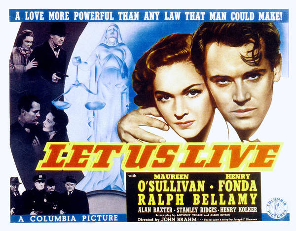 1930s Movies Poster featuring the photograph Let Us Live, Maureen Osullivan, Henry by Everett