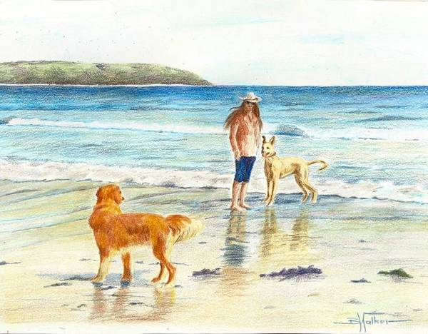 Seascape Poster featuring the painting Let's Play by Barbara Walker