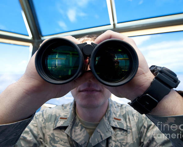 Military Poster featuring the photograph Lieutenant Uses Binoculars To Scan by Stocktrek Images