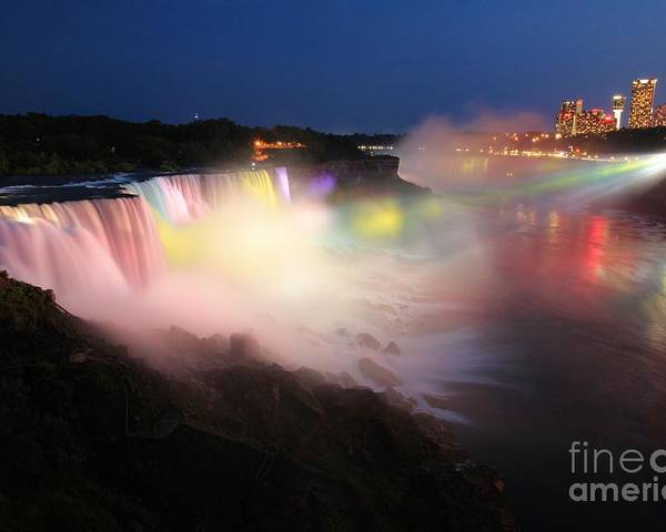 Niagara Falls Poster featuring the photograph Light From The Canadians by Adam Jewell