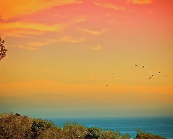 Horizontal Poster featuring the photograph Light Of Sun Setting On Malibu Beach by Albert Valles