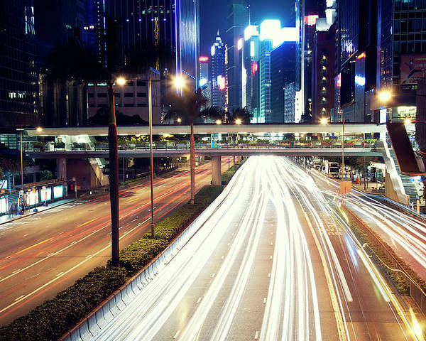 Horizontal Poster featuring the photograph Light Trails At Traffic On Street At Night by Thank you for choosing my work.