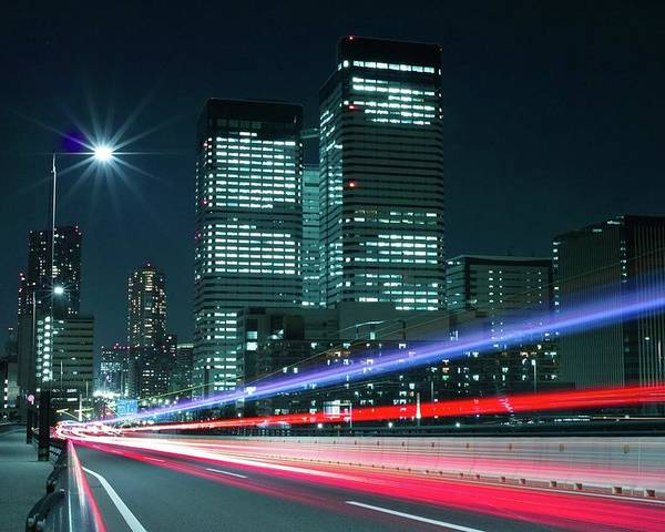 Horizontal Poster featuring the photograph Light Trails On The Street In Tokyo by >>>>sample Image>>>>>>>>>>>>>>