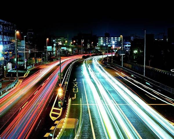 Horizontal Poster featuring the photograph Light Trails by Photo by ball1515
