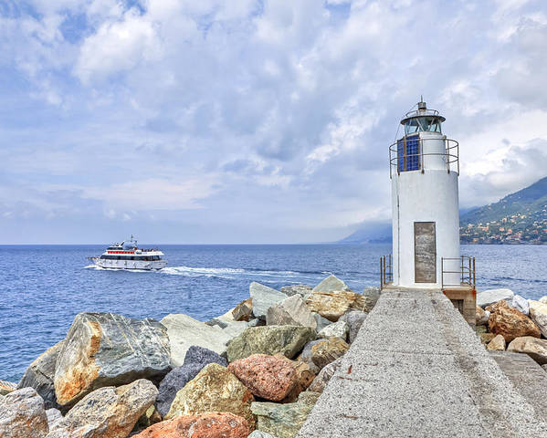 Lighthouse Poster featuring the photograph Lighthouse Camogli by Joana Kruse