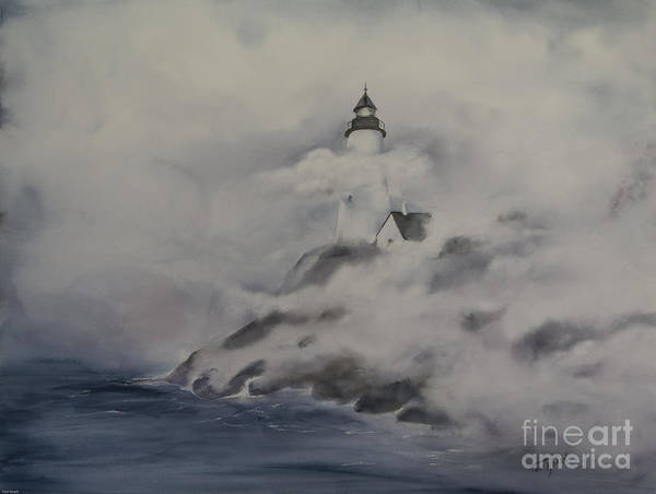 Watercolor Poster featuring the painting Lighthouse On Foggy Coast by Toni Roark