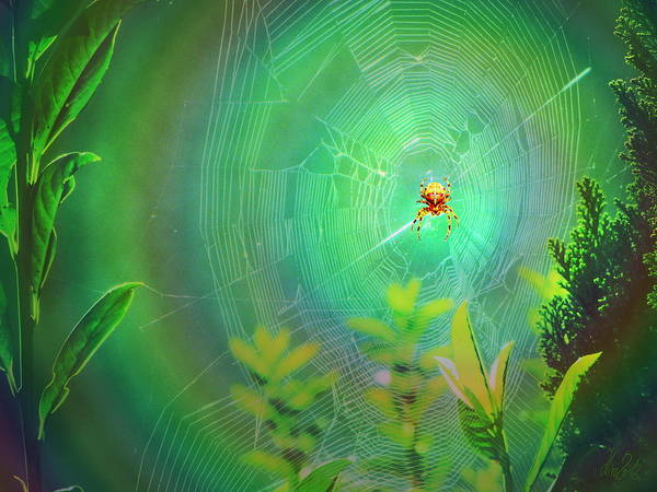 Spider Poster featuring the digital art Lightning Spider by Helmut Rottler