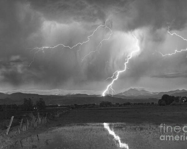 Awesome Poster featuring the photograph Lightning Striking Longs Peak Foothills 2bw by James BO Insogna