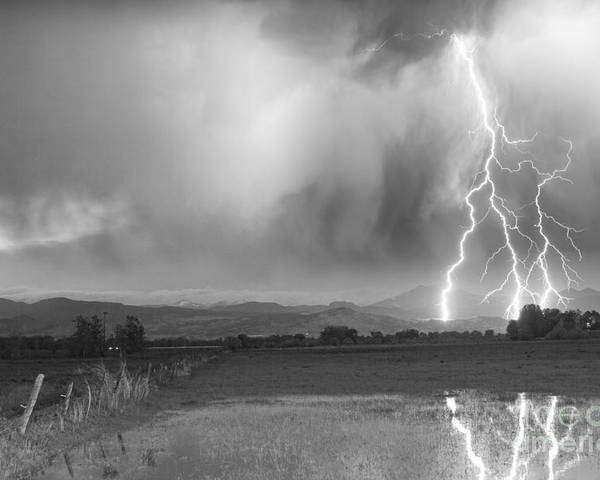 Awesome Poster featuring the photograph Lightning Striking Longs Peak Foothills 6bw by James BO Insogna