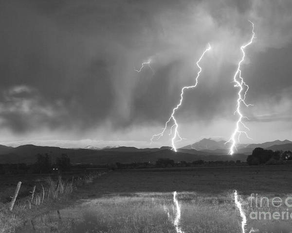 Awesome Poster featuring the photograph Lightning Striking Longs Peak Foothills Bw by James BO Insogna
