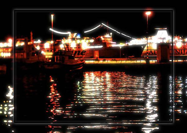 Reflection Sea Dark Lights Harbor Split Croatia Poster featuring the photograph Lights Of Harbor by Gennadiy Golovskoy