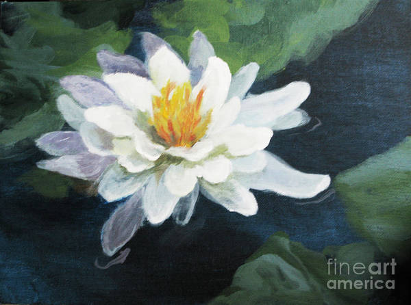 Floral Poster featuring the painting Lily In Water 2 by Judith Reidy