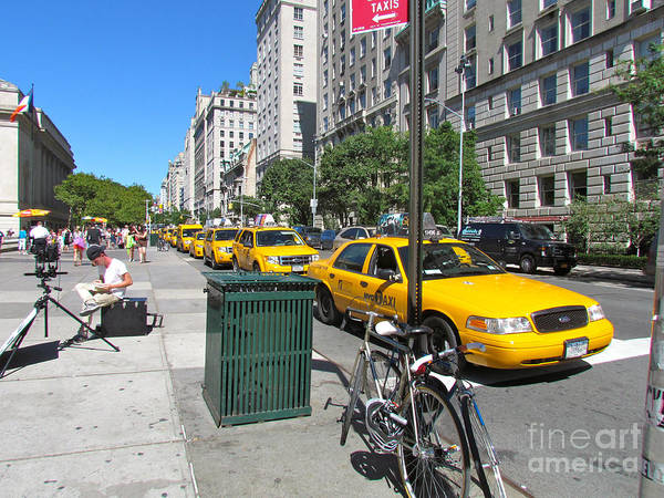 Taxis Poster featuring the photograph Lined Up For Business by Randi Shenkman