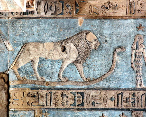 Horizontal Poster featuring the photograph Lion At Dendera, Egypt by Joe & Clair Carnegie / Libyan Soup