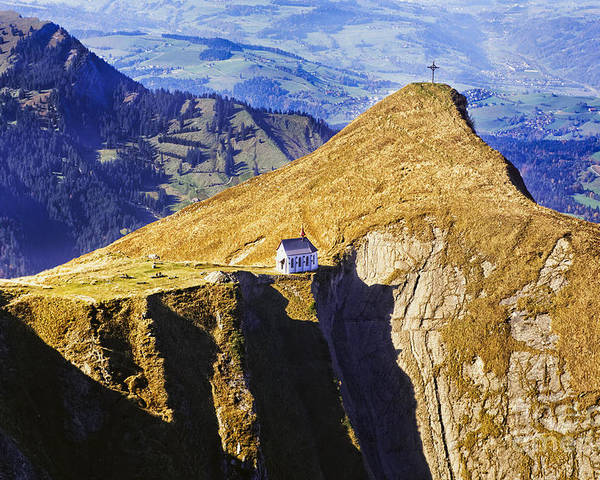 Alps Poster featuring the photograph Little Chapel On The Mountain by George Oze