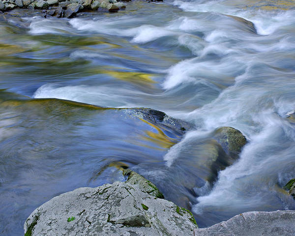Blue Poster featuring the photograph Little River Great Smoky Mountains by Dean Pennala