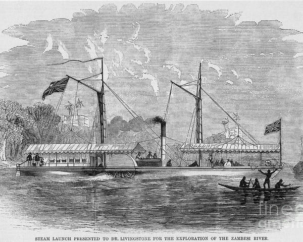 1858 Poster featuring the photograph Livingstone: Steam Launch by Granger