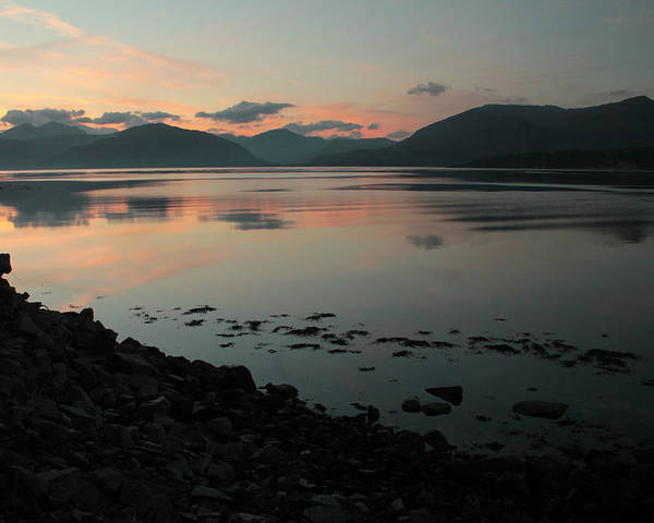 Loch Linnie Ardgour Mountains Ballachulish Henry Hemming Scotland Water Loch Lake Sunset Highlands Still Pink Poster featuring the photograph Loch Linnie And The Ardgour Mountains by Henry Hemming