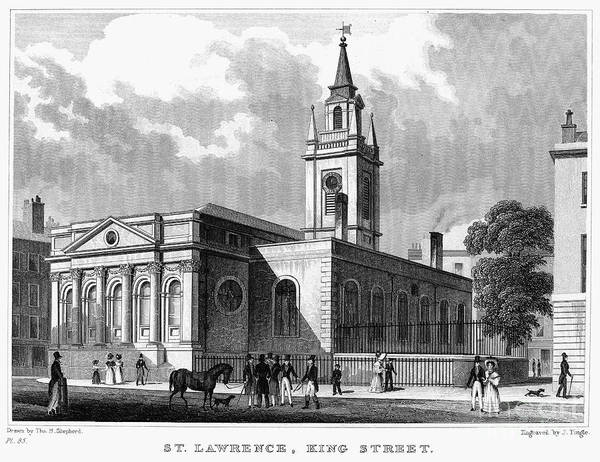 1830 Poster featuring the photograph London: Church, C1830 by Granger