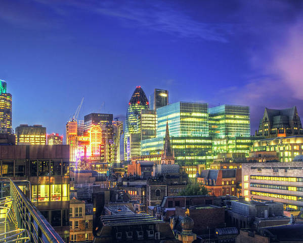 Horizontal Poster featuring the photograph London Skyline At Night by Gregory Warran