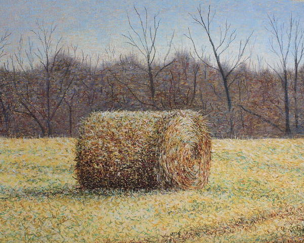 Haybale Poster featuring the painting Lone Haybale by Patsy Sharpe