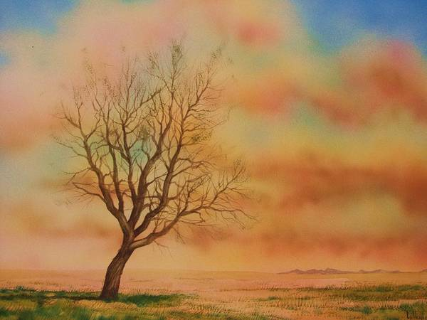 Landscape Poster featuring the painting Lone Tree On The Montana Praire by Kevin Heaney