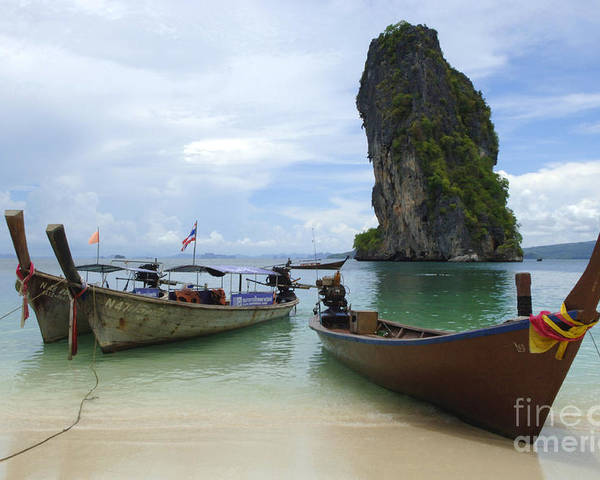 Phuket Poster featuring the photograph Long Tail Boats Thailand by Bob Christopher