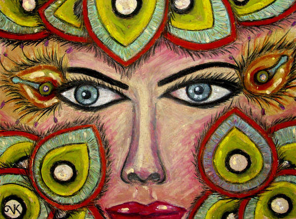 Oil Pastel Painting Poster featuring the pastel Look At Me by Valentina Kross