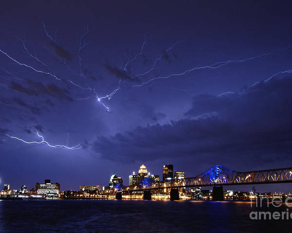 Lightning Poster featuring the photograph Louisville Storm - D001917b by Daniel Dempster