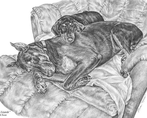 Doberman Poster featuring the drawing Lounge Lizards - Doberman Pinscher Dog Art Print by Kelli Swan