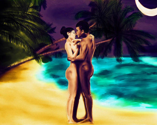 Lovers Under The Stars Poster featuring the painting Lovers Under The Stars by Kenal Louis