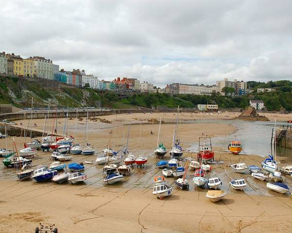 Low Tide Poster featuring the photograph Low Tide At Tenby by Tam Ryan