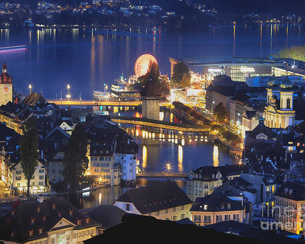 Jesuit Church Poster featuring the photograph Lucerne At Night From Above by George Oze
